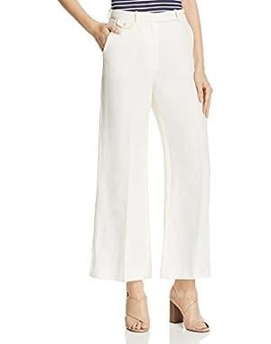 Womens Linen Flare Leg Dress Pants
