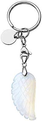 Llavero para mujer y hombre con colgante tallado con alas de /ángel de piedra desnuda cierre de ara/ña 3 unidades CrystalTears regalo