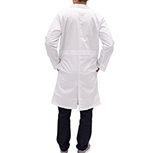 Unisex Long White Lab Coat - Chemistry, Biology, Organic Chem, Science Student Lab (L)