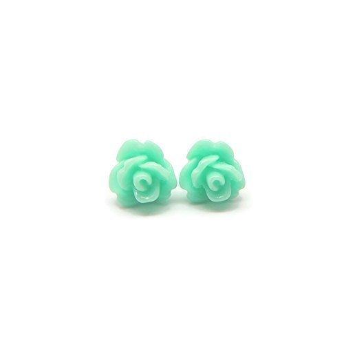 Tiny 8mm Pale Aqua Blue Rose Earrings on Plastic Posts