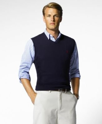 Polo Ralph Lauren Mens Special Occasion Professional Sweater Vest Navy S