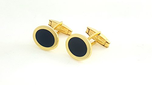 925 Cufflinks (18 Karat Gold Overlay 925 Solid Sterling Silver Cufflinks WITH BLACK ENAMEL(MADE IN ITALY) in 2 Colors cf12 (GOLD))