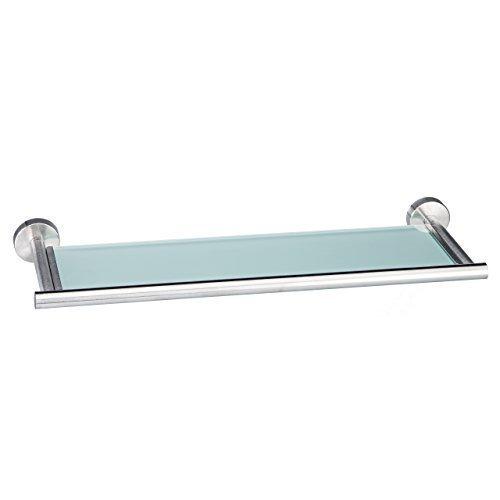 Axial-Serie - Glasablage aus Milchglas und hochwertigem Edelstahl, matt, gebürstet - zum KLEBEN oder BOHREN