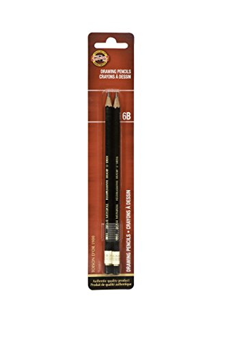 Koh-I-Noor Toison d'Or Graphite Pencil, 6B Degree, 2 Pack (FA1900.6BBC)