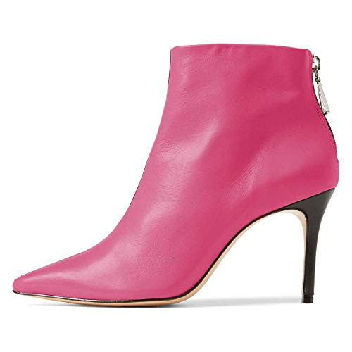 Heels Shoes 4 Ankle Tone Booties Pointed Slim Size Back Fuchsia FSJ 15 Toe US High Boots Two Women Zipper wZpXqzO