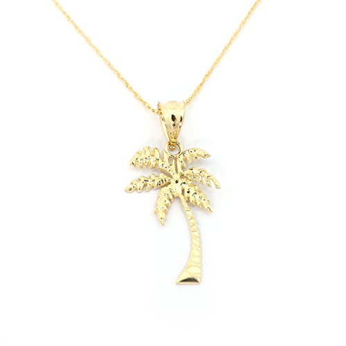 14k Yellow Gold Palm Tree Pendant Necklace - 18'' by Beauniq
