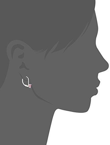 Disney Princess Sterling Silver Pink Heart Cubic Zirconia Lever Back Earrings