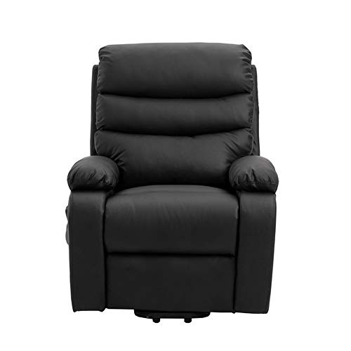 Homegear PU Leather Power Lift Electric Recliner Chair with Massage, Heat and Vibration with Remote Black (Petite Reclining Lift Chair)