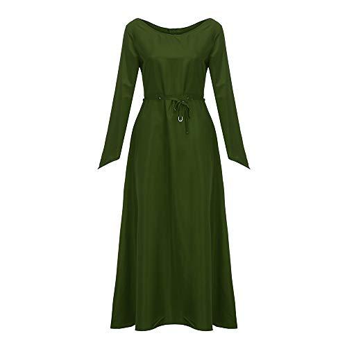 iDWZA Fashion Women Plus Size Solid Vintage Renaissance Long Sleeve Bandage Long Party Dress(Green,US S/CN M