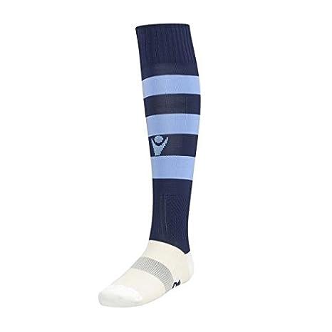ATELIER DEL RICAMO - Calzettoni Calcio Macron Hoops Colore: Blu Navy/Celeste Taglia: Junior (35-40) MACRON_HOOPS_J_BN/Ce