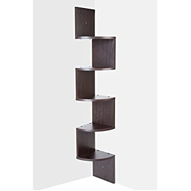 Saganizer corner shelf brown corner shelf unit 5 Tier corner shelves