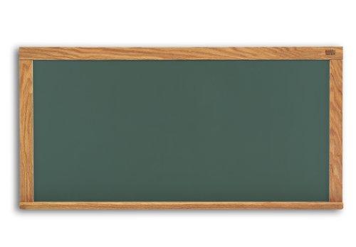 Marsh Pro-Lite 48''x120'' Green Porcelain Chalkboard, Red Oak Wood Trim / 2'' Map Rail by Marsh