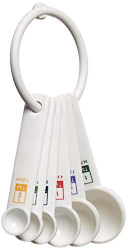 Fox Run 4826 Measuring Spoon Set, Plastic, 6-Piece, White