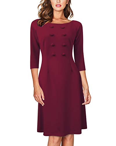 (AUTCY Plus Size Dresses, Women's Elegant Dresses Ladies Business Casual 3/4 Sleeve A Line Formal Party Work Office Dress Wine Red XXL)