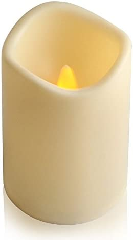 ELEOPTION Indoor Outdoor Flameless Resin Pillar led Candle with 6 Hour Timer 5