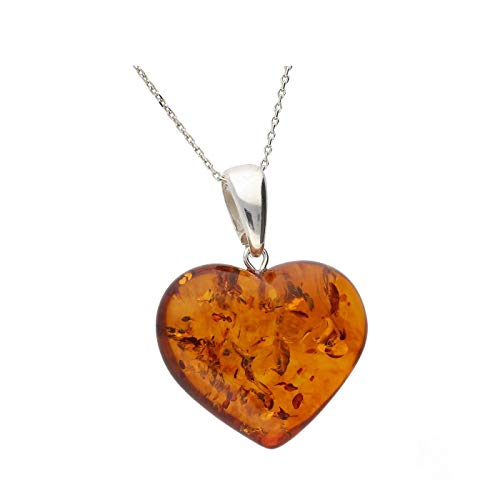 Cognac Baltic Amber Sterling Silver 925 Beauty Heart Pendant, KAB-46 d
