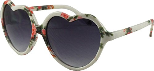73666d5037 Revive Eyewear Women s 50 s Floral Print Retro Heart White Frame  Black  Lens Non Polarized Sunglasses