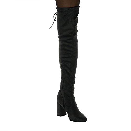 Botte Haut Lacets Femme Chaussure Cm Bloc Angkorly Sexy Cavalier Souple 9 Gris Noeud Talon Mode Cuissarde 1Pxw4tB