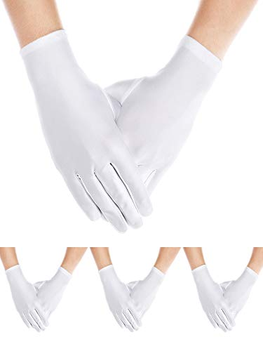 Sumind 4 Pairs Adult Uniform Gloves Spandex Gloves Dress Glove for Man Police Formal Tuxedo Guard Parade Costume(White A) ()