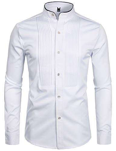 ZEROYAA Mens Hipster Slim Fit Long Sleeve Tuxedo Dress Shirts Banded Collar with Black Piping ZZCL19 White ()