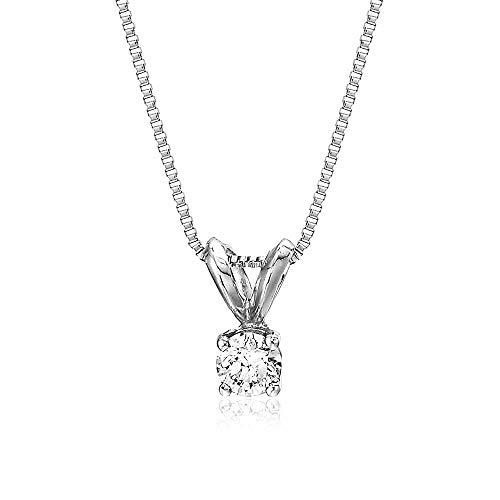 - AGS Certified 1/5 cttw Diamond Solitaire Pendant In 14K White Gold with 18 Inch Chain