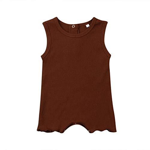 Cutebebe 0-24M Newborn Infant Baby Girl Boy Kids Sleeveless Round Neck Knitting Romper Bodysuit Outfit Summer Clothes (Khaki, 0-6M)