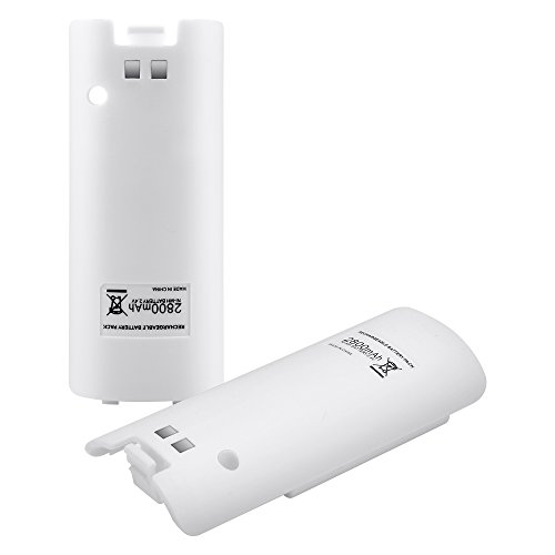 Kycola Wii Batteries WK011 2 Capacity 2800mAh Rechargeable Battery Packs for Nintendo Wii Remote Controller(White)