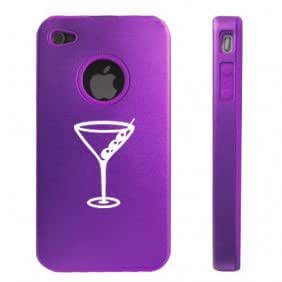 Apple iPhone 4 4S 4G Purple D1668 Aluminum & Silicone Case Cover Martini Glass with Olives