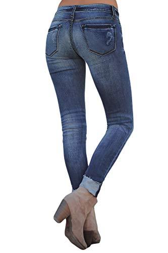 Skinny Jeans Stretch Strappati Donna Houjibofa Blue xtOwq5aS