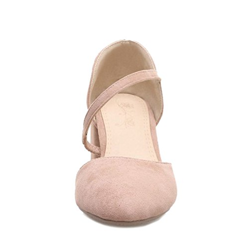 SJJH Casaul Sandals with Fuax Suede Materail and Large Pink jm3r1GtC
