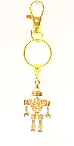 robot-keychain-ring-fob-gold-plated-geek-accessory-car