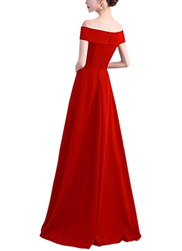 Abito Vestiti Cocktail Lungo Rosso Da Donna Keluosi Elegante Sposa Vestito Sera Una Spalla HxqvnBw