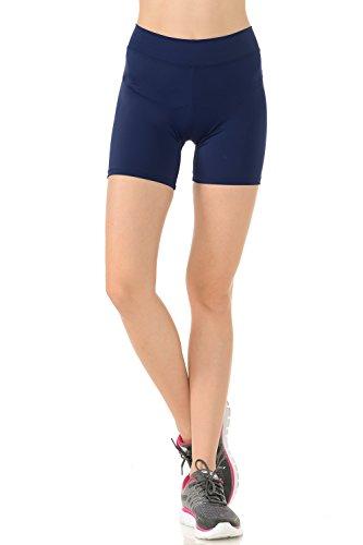 Anza Womens 5' Inseam Dance Shorts Bike Yoga Exercise Shorts-Navy,Medium