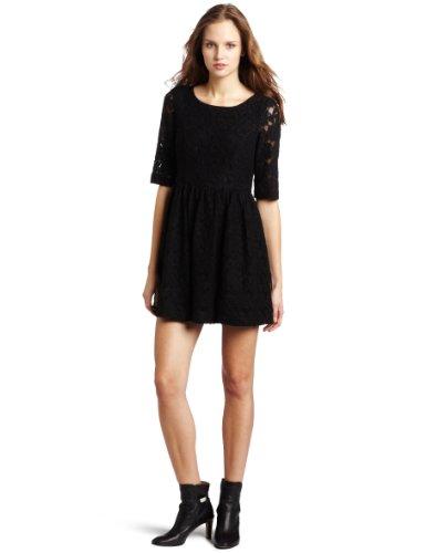 kensie Women's Floral Lace Dress, Black, Large ()