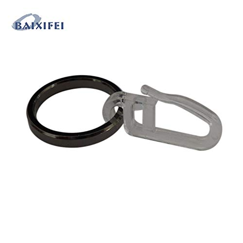 CAR ACCESSORY Curtain Rod 50 Pcs D25mm Iron Ring with Hook, Curtain Rod Rings for Window Decoration