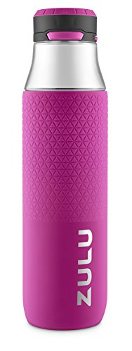 ZULU Studio Glass Water Bottle with Silicone Sleeve, Pink, 2