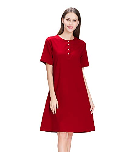 lantisan Cotton Knit Nightgowns for Women, Henley Short Sleeve Soft Knee Length Nightshirt,WineRed-Short,S