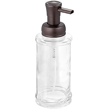 interdesign hamilton glass foaming soap dispenser pump for kitchen or bathroom countertop clearbronze - Soap Dispenser Pumps