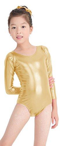 Speerise Kids Girls Long Sleeve Shiny Metallic Spandex Gymnastics Dance Leotard, Gold, 8-10 by Speerise
