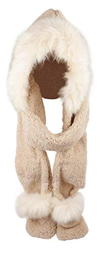 Soft Winter Warm Hooded Scarf Headscarf Neckwarmer Hoodie Hat,Khaki -