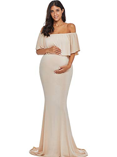 Love2Mi Womens Maternity Off Shoulder Ruffles Dress Mama Photography Slim Fitted Gown Maxi, Champagne, L