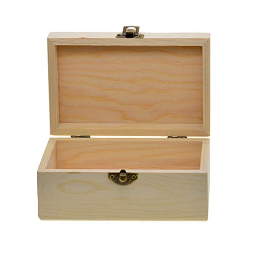 Unfinished Wooden Jewel Box Case for Kids DIY Crafts Wood Art Storgae -