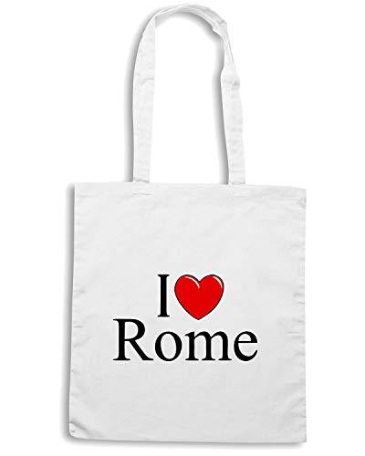 Borsa Shopper Bianca TLOVE0049 I LOVE HEART ROME