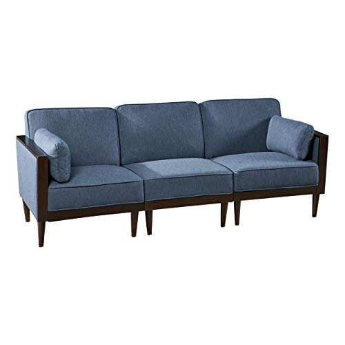 Christopher Knight Home 306600 Tegan Sectional Sofa Set 3-Piece Deep Seating, Piped Cushions Contemporary Mid-Century Modern Modular Configurable Navy Blue with Natural Finish, Dark Walnut