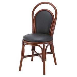 籐椅子 ラタンダイニングチェア 合成皮革張り ダークブラウン色 アジアンテイスト B071PBL5RD