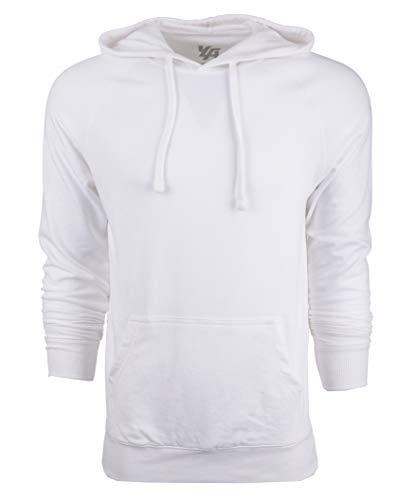 YoungLA Hoodies for Men Pullover Raglan Lightweight Sweatshirt 524 White Large