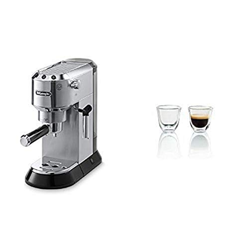 Delonghi EC680M DEDICA 15-Bar Pump Espresso Machine, Stainless Steel & DeLonghi Double Walled Thermo Espresso Glasses…