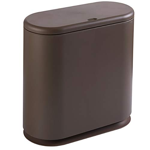 YJSBIZ Simple Oval Press-typed Small Trash Can, Creative Household Garbage Cans for Bedroom Kitchen Narrow Living Room Bathroom Office Covered with Human - Designed Lid, Dual Liners (Brown)