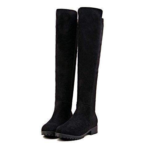 KHSKX-Die Weiblichen Winter Und Über Die Knie - Stovepipe Schuhe Stiefel Mit Flachen Boots Die Stiefel Aus Hohen Einzylinder black