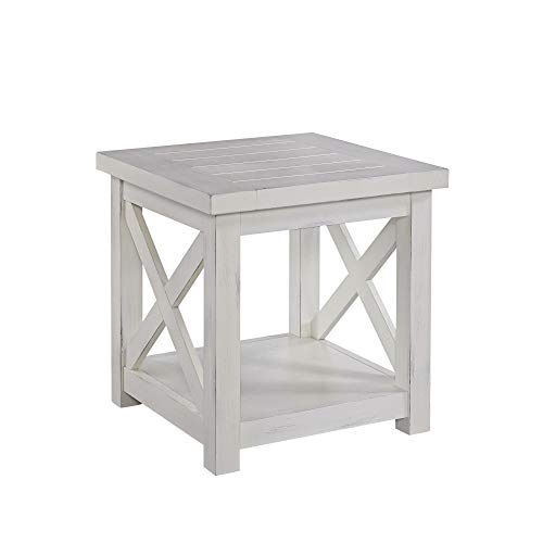 Home Styles 5523-20 Seaside Lodge End Table, Hand Rubbed Weathered White